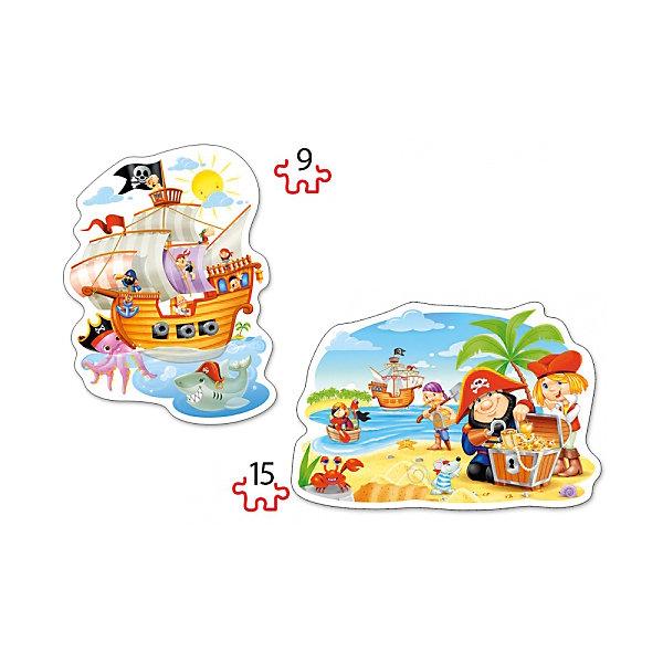 Пазл 2 в 1 Castorland Пиратские сокровища, 9/15 деталейПазлы для малышей<br>Характеристики товара:<br><br>• возраст: от 3 лет;<br>• количество деталей: 24 шт; <br>• комплект: 2 картинки;<br>• из чего сделана игрушка (состав): картон;<br>• размер упаковки: 32х22х4,7 см;<br>• упаковка: картонная коробка;<br>• размер собранного пазла: 28х20 см.;<br>• вес: 300 гр.;<br>• страна производителя: Польша.<br><br>Пазл 2 в 1 Пиратские сокровища от Castorland состоит из двух вариантов сборки: один содержит 9 элементов, а второй 15, посложнее первого. Это рассчитано на постепенное освоение ребенком такого вида головоломки, как собирание пазла. Картинки представлены на популярную среди детей в настоящее время тематику моря и приключений пиратов.<br><br>Также немаловажно то, что данный пазл изготовлен довольно качественно и добротно, это дает возможность игре прослужить долго своему маленькому обладателю. Прежде чем подобрать нужный элемент, ребенок будет делать многократные попытки вставить правильный. Поэтому качество и прочность являются основными показателями пазлов данной марки.злы и получит много удовольствия от этого процесса.<br> <br>Пазл 2 в 1 «Пиратские сокровища» от бренда Castroland можно купить в нашем интернет-магазине.<br>Ширина мм: 320; Глубина мм: 220; Высота мм: 47; Вес г: 300; Возраст от месяцев: 36; Возраст до месяцев: 2147483647; Пол: Унисекс; Возраст: Детский; SKU: 7323851;