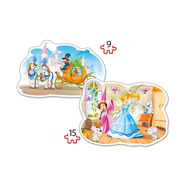 Пазл 2 в 1 Castorland Золушка, 9/15 деталейПазлы для малышей<br>Характеристики товара:<br><br>• возраст: от 3 лет;<br>• количество деталей: 24 шт; <br>• комплект: 2 картинки;<br>• из чего сделана игрушка (состав): картон;<br>• размер упаковки: 32х22х4,7 см;<br>• упаковка: картонная коробка;<br>• размер собранного пазла: 28х20 см.;<br>• вес: 300 гр.;<br>• страна производителя: Польша.<br><br>Контурные пазлы Castorland Золушка, состоящие из крупных элементов, станут замечательным подарком для самых маленьких любителей пазлов. Сборка этих пазлов не вызовет трудностей у ребенка, а красочные картинки привлекут внимание. Набор состоит из двух картинок-пазлов: из 9 элементов и из 15. Готовые пазлы могут быть оригинальным украшением детской комнаты или зала в детском саду.<br><br>Собирание пазлов для детей это не только интересно, но и полезно: ведь в процессе создания картинки ребенок развивает мелкую моторику, тренирует наблюдательность, логическое мышление, знакомится с окружающим миром, с цветом и разнообразными формами.<br><br>Пазл 2 в 1 «Золушка» от бренда Castroland можно купить в нашем интернет-магазине.<br><br>Ширина мм: 320<br>Глубина мм: 220<br>Высота мм: 47<br>Вес г: 300<br>Возраст от месяцев: 36<br>Возраст до месяцев: 2147483647<br>Пол: Женский<br>Возраст: Детский<br>SKU: 7323852