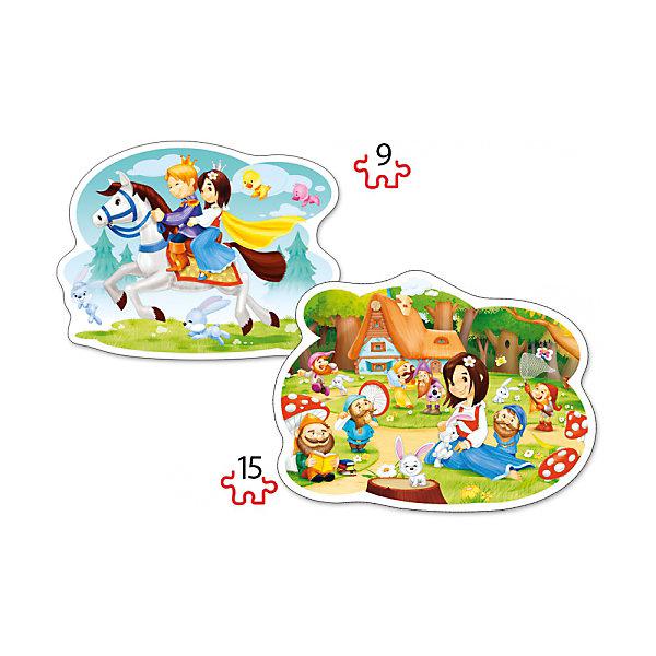 Пазл 2 в 1 Castorland Белоснежка, 9/15 деталейПазлы для малышей<br>Характеристики товара:<br><br>• возраст: от 3 лет;<br>• количество деталей: 24 шт; <br>• комплект: 2 картинки;<br>• из чего сделана игрушка (состав): картон;<br>• размер упаковки: 32х22х4,7 см;<br>• упаковка: картонная коробка;<br>• размер собранного пазла: 28х20 см.;<br>• вес: 300 гр.;<br>• страна производителя: Польша.<br><br>Набор пазлов «Белоснежка и семь гномов» от бренда Castorland включает в себя 2 картинки с изображенными на них сценами из одноименного диснеевского мультфильма. Каждая из картинок состоит из разного количества крупных элементов: 9 и 15. Сборка этих ярких красочных картин наверняка заинтересует многих детей.<br> <br>Пазл 2 в 1 «Белоснежка и семь гномов» от бренда Castroland можно купить в нашем интернет-магазине.<br>Ширина мм: 320; Глубина мм: 220; Высота мм: 47; Вес г: 300; Возраст от месяцев: 36; Возраст до месяцев: 2147483647; Пол: Женский; Возраст: Детский; SKU: 7323853;