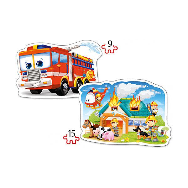 Пазл 2 в 1 Castorland Пожарная команда, 9/15 деталейПазлы для малышей<br>Характеристики товара:<br><br>• возраст: от 3 лет;<br>• количество деталей: 24 шт; <br>• комплект: 2 картинки;<br>• из чего сделана игрушка (состав): картон;<br>• размер упаковки: 32х22х4,7 см;<br>• упаковка: картонная коробка;<br>• размер собранного пазла: 28х20 см.;<br>• вес: 300 гр.;<br>• страна производителя: Польша.<br><br>Пазл Пожарная команда 2 в 1 от Castorland представляет собой целых 2 яркие картинки на одну общую тему пожарной безопасности. На одной картинке изображена пожарная машина, на второй - горящий дом и пожарные, которые заняты тушением огня.<br><br>Собирая с ребенком пазл, родители смогут рассказать малышу о неосторожном обращении с огнем и его последствиях, а данные картинки послужат прекрасной иллюстрацией к рассказу.<br> <br>Пазл 2 в 1 «Пожарная команда» от бренда Castroland можно купить в нашем интернет-магазине.<br><br>Ширина мм: 320<br>Глубина мм: 220<br>Высота мм: 47<br>Вес г: 300<br>Возраст от месяцев: 36<br>Возраст до месяцев: 2147483647<br>Пол: Мужской<br>Возраст: Детский<br>SKU: 7323854
