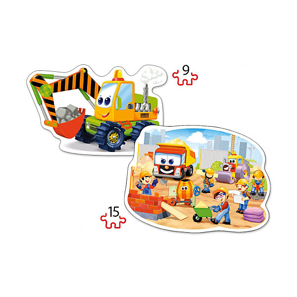Пазл 2 в 1 Castorland Стройка, 9/15 деталейПазлы для малышей<br>Характеристики товара:<br><br>• возраст: от 3 лет;<br>• количество деталей: 24 шт; <br>• комплект: 2 картинки;<br>• из чего сделана игрушка (состав): картон;<br>• размер упаковки: 32х22х4,7 см;<br>• упаковка: картонная коробка;<br>• размер собранного пазла: 28х20 см.;<br>• вес: 300 гр.;<br>• страна производителя: Польша.<br><br>Пазл Стройка от бренда Castorland представляет собой набор, состоящий из 2 контурных головоломок. Они отличаются друг от друга не только изображением на них, но и сложностью сборки, так как один пазл состоит из 9 элементов, а другой из 15. Все детали изготовлены из картона и имеют крупный размер, что обеспечит ребенку удобство при сборке.<br><br>Собирание пазлов для детей это не только интересно, но и полезно: ведь в процессе создания картинки ребенок развивает мелкую моторику, тренирует наблюдательность, логическое мышление, знакомится с окружающим миром, с цветом и разнообразными формами.<br> <br>Пазл 2 в 1 «Стройка» от бренда Castroland можно купить в нашем интернет-магазине.<br><br>Ширина мм: 320<br>Глубина мм: 220<br>Высота мм: 47<br>Вес г: 300<br>Возраст от месяцев: 36<br>Возраст до месяцев: 2147483647<br>Пол: Унисекс<br>Возраст: Детский<br>SKU: 7323855