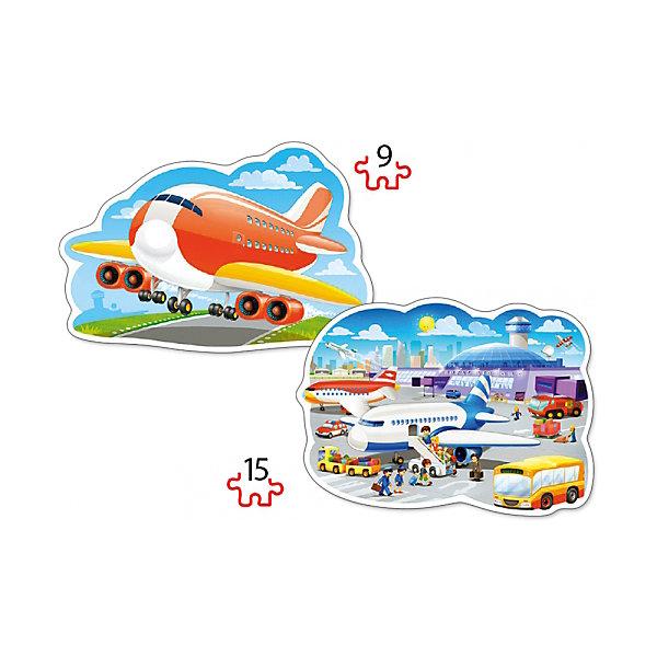 Пазл 2 в 1 Castorland Аэропорт, 9/15 деталейПазлы для малышей<br>Характеристики товара:<br><br>• возраст: от 3 лет;<br>• количество деталей: 24 шт; <br>• комплект: 2 картинки;<br>• из чего сделана игрушка (состав): картон;<br>• размер упаковки: 32х22х4,7 см;<br>• упаковка: картонная коробка;<br>• размер собранного пазла: 28х20 см.;<br>• вес: 300 гр.;<br>• страна производителя: Польша.<br><br>Аэропорт от компании Castorland – это набор, который состоит из двух пазлов, предназначенных для младших детишек в возрасте от трех лет.<br><br>На двух картинках, обведенных белым контуром, изображены красочные самолеты. Один пазл состоит из девяти элементов, другой – из пятнадцати. Элементы пазлов довольно крупные, поэтому сборка картинок не станет для ребенка трудной задачей.<br>Пазл изготовлен из плотного картона, который будет трудно помять или порвать, а яркие картинки наверняка понравятся ребенку.<br> <br>Пазл 2 в 1 «Аэропорт» от бренда Castroland можно купить в нашем интернет-магазине.<br><br>Ширина мм: 320<br>Глубина мм: 220<br>Высота мм: 47<br>Вес г: 300<br>Возраст от месяцев: 36<br>Возраст до месяцев: 2147483647<br>Пол: Унисекс<br>Возраст: Детский<br>SKU: 7323856