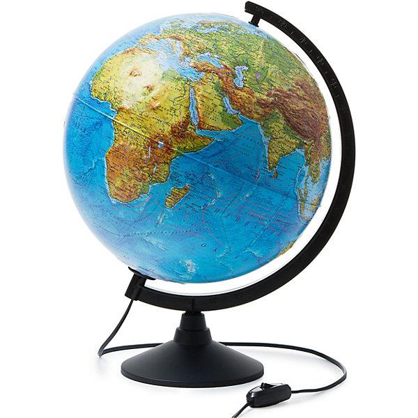 Глобус Земли физико-политический с подсветкой рельефный 320ммГлобусы<br>Характеристики:<br><br>• возраст: от 6 лет;<br>• диаметр: 32 см;<br>• материал: пластик;<br>• есть подсветка с переключателем на шнуре;<br>• упаковка: пакет, подарочная коробка;<br>• вес упаковки: 1,1 кг.;<br>• размер упаковки: 32,1х32,1х34,5 см;<br>• страна производитель: Россия.<br><br>Глобус Земли от компании Globen расположен на удобной подставке и красиво подсвечивается изнутри. Может служить дополнительным светильником. Физико-политический глобус наглядно отображает внешний вид поверхности планеты и все государственные границы на сегодняшний день, включая Крым в составе России. Рельефная поверхность карты сделает процесс изучения географии еще занимательней.<br><br>Глобус Земли физико-политический с подсветкой рельефный 320мм можно купить в нашем интернет-магазине.<br>Ширина мм: 321; Глубина мм: 321; Высота мм: 345; Вес г: 1100; Возраст от месяцев: 72; Возраст до месяцев: 2147483647; Пол: Унисекс; Возраст: Детский; SKU: 7327219;
