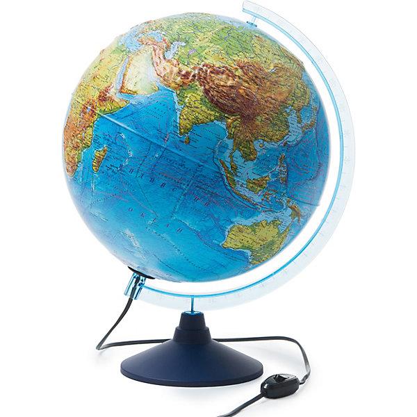 Глобус Земли физико-политический с подсветкой рельефный 320ммГлобусы<br>Характеристики:<br><br>• возраст: от 6 лет;<br>• диаметр: 32 см;<br>• материал: пластик;<br>• есть подсветка с переключателем на шнуре;<br>• упаковка: пакет, подарочная коробка;<br>• вес упаковки: 1,1 кг.;<br>• размер упаковки: 32,1х32,1х34,5 см;<br>• страна производитель: Россия.<br><br>Глобус Земли от компании Globen расположен на удобной подставке и красиво подсвечивается изнутри. Может служить дополнительным светильником. Физико-политический глобус наглядно отображает внешний вид поверхности планеты и все государственные границы на сегодняшний день, включая Крым в составе России. Рельефная поверхность карты сделает процесс изучения географии еще занимательней.<br><br>Глобус Земли физико-политический с подсветкой рельефный 320 мм можно купить в нашем интернет-магазине.<br>Ширина мм: 321; Глубина мм: 321; Высота мм: 345; Вес г: 1100; Возраст от месяцев: 72; Возраст до месяцев: 2147483647; Пол: Унисекс; Возраст: Детский; SKU: 7327229;