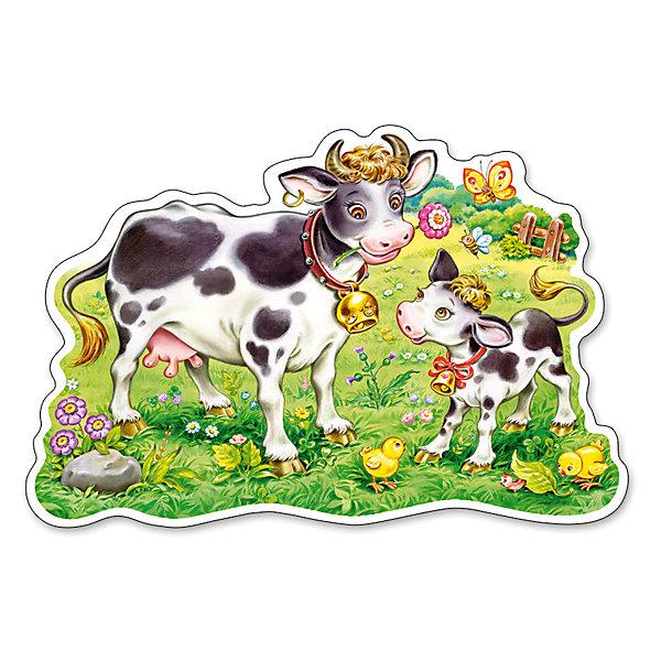 Пазл Castorland Maxi Коровки на лугу, 12 деталейПазлы для малышей<br>Характеристики товара:<br><br>• возраст: от 3 лет;<br>• вид: контурный пазл-мозайка;<br>• количество элементов: 12 шт.;<br>• материал пазла: картон;<br>• размер картинки: 47х33 см.;<br>• размер упаковки: 32х22х4,7 см.;<br>• вес: 400 гр.;<br>• упаковка: картонная коробка;<br>• страна изготовитель: Польша.<br><br>Макси - пазл изготовлен из плотного картона и изображает симпатичную корову и теленка, пасущихся на ярком зеленом лугу.<br><br>Предназначен для маленьких детей: элементы пазла достаточно крупные, чтобы ребенок не смог их проглотить. Пазл состоит из двенадцати элементов, которые складываются в довольно большую картинку. <br><br>Такой пазл поможет ребенку развить и усовершенствовать внимательность, сообразительность и логику.<br><br>Пазл можно купить в нашем интернет-магазине.<br>Ширина мм: 320; Глубина мм: 220; Высота мм: 47; Вес г: 400; Возраст от месяцев: 36; Возраст до месяцев: 2147483647; Пол: Унисекс; Возраст: Детский; SKU: 7327780;