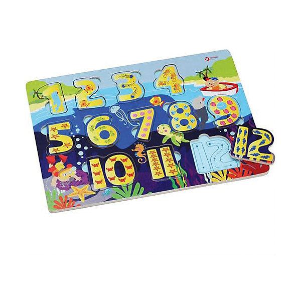 Деревянная рамка-вкладыш Classic World Умные числаРамки-вкладыши<br>Характеристики:<br><br>• возраст: от 1 года<br>• в наборе: основа (30,5х21 см.), 12 элементов<br>• материал: дерево<br>• упаковка: пакет<br>• размер упаковки: 30х21х2,2 см.<br>• вес: 320 гр.<br><br>Большой пазл «Умные числа» - занимательная, развивающая игрушка для малышей, изготовленная из экологически чистого дерева с использованием безопасных красок.<br><br>Пазл познакомит ребенка с числами. На деревянной доске-основе, выполненной в стильном морском дизайне, расположены яркие вкладыши-числа от 1 до 12. Задача малыша расставить элементы пазла в правильном порядке.<br><br>Собирая пазл, ребенок разовьет крупную и мелкую моторику, координацию движений, логику, мышление и внимательность.<br><br>Большой деревянный пазл Умные числа можно купить в нашем интернет-магазине.<br>Ширина мм: 300; Глубина мм: 22; Высота мм: 210; Вес г: 320; Возраст от месяцев: 12; Возраст до месяцев: 2147483647; Пол: Унисекс; Возраст: Детский; SKU: 7327899;