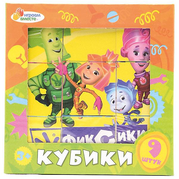 Кубики Играем вместе Фиксики, 9 штукПопулярные игрушки<br>Характеристики товара:<br><br>• количество кубиков: 9;<br>• возраст: от 3 лет;<br>• материал: пластик;<br>• размер упаковки: 12х12х4 см;<br>• страна производства: Россия. <br><br>Фиксики - один из любимых мультсериалов современных детей. Дети с радостью наблюдают за жизнью маленьких мастеров и получают новые знания. С помощью набора от Играем вместе ребенок сможет собрать изображения Маси, Папуса, Нолика и Симки. Чтобы получилось нужное изображение, необходимо правильно расположить все 9 кубиков. Кубики не имеют острых углов и тщательно отшлифованы.<br><br>Набор из 9-и кубиков «Фиксики», Играем вместе можно купить в нашем интернет-магазине.<br><br>Ширина мм: 6<br>Глубина мм: 6<br>Высота мм: 6<br>Вес г: 210<br>Возраст от месяцев: 36<br>Возраст до месяцев: 84<br>Пол: Унисекс<br>Возраст: Детский<br>SKU: 7328012