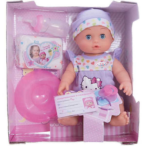 Интерактивный пупс Карапуз Hello Kitty 3 функции, 30 смБренды кукол<br>Характеристики товара:<br><br>• в комплекте: пупс, горшок, бутылочка, свидетельство;<br>• высота куклы: 30 см;<br>• возраст: от 3 лет;<br>• материал: пластик, текстиль;<br>• размер упаковки: 27х30х15 см;<br>• страна бренда: Россия.<br><br>С пупсом «Карапуз» очень весело играть. Он умеет пить и писать, совсем как настоящий малыш, чтобы девочка могла почувствовать себя заботливой мамой. А если уложить Карапуза спать, то он реалистично закроет глазки и уснет. Игрушка имеет подвижные руки и ноги, чтобы девочка могла посадить или положить своего малыша. Пупс одет в симпатичный розовый костюмчик и шапочку в тон. Играя с пупсом, девочка научится проявлять заботу и ответственность. В комплект входят необходимые аксессуары: горшок, бутылочка, свидетельство. Придумав имя своему пупсу, девочка сможет вписать его в свидетельство о рождении.<br><br>Пупса Карапуз 30 см, 3 функции, пьет и писает, с аксессуарами, Карапуз можно купить в нашем интернет-магазине.<br>Ширина мм: 13; Глубина мм: 10; Высота мм: 30; Вес г: 770; Возраст от месяцев: 36; Возраст до месяцев: 84; Пол: Унисекс; Возраст: Детский; SKU: 7328028;