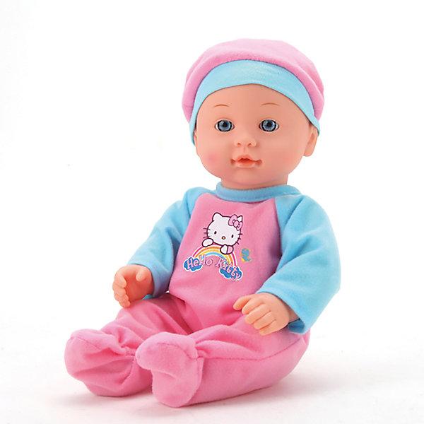 Интерактивный пупс Карапуз Hello Kitty 3 функции, 30 смКуклы<br>Характеристики товара:<br><br>• в комплекте: пупс, горшок, бутылочка, подгузник;<br>• высота куклы: 30 см;<br>• возраст: от 3 лет;<br>• материал: пластик, текстиль;<br>• размер упаковки: 33х21х11 см;<br>• страна бренда: Россия.<br><br>С пупсом Карапуз девочка сможет гулять, играть и даже купаться. Игрушка оснащена тремя функциями: пьет, писает и закрывает глазки. В комплект входят аксессуары, которые понадобятся для игры: бутылочка, горшок, подгузник. Чтобы малыш начал писать, необходимо посадить его на горшок и напоить водой из бутылочки. После того, как девочка поменяет карапузу подгузник и уложит спать, малыш реалистично закроет глазки и сладко уснет. Пупс одет в костюмчик и шапочку, выполненные в розовом и голубом цветах. Костюм и аксессуары украшены рисунком Hello Kitty.<br><br>Пупса «Карапуз» Hello Kitty (Хелло Китти) 30см, 3 функции, пьет и писает, с аксессуарами, Карапуз можно купить в нашем интернет-магазине.<br><br>Ширина мм: 13<br>Глубина мм: 10<br>Высота мм: 30<br>Вес г: 620<br>Возраст от месяцев: 36<br>Возраст до месяцев: 84<br>Пол: Унисекс<br>Возраст: Детский<br>SKU: 7328029