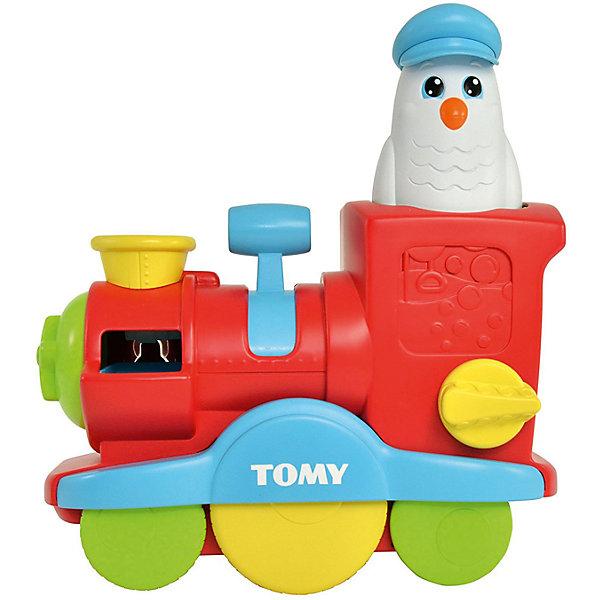 Игрушка для ванны Tomy Веселый паровозик с мыльными пузырямиДинамические игрушки<br>Характеристики товара:<br><br>• в комплекте: паровозик, фигурка совы;<br>• возраст: от 18 месяцев;<br>• материал: пластик;<br>• размер упаковки: 22х10х22,5 см;<br>• страна бренда: Великобритания.<br><br>С веселым паровозиком Tomy игры в воде будут невероятно забавными и интересными. Игрушка выполнена в виде разноцветного локомотива под управлением серьезного капитана Совы в синей фуражке. В игрушку можно залить воды, а затем нажать на рычаг, чтобы вода выливалась, заставляя колесики крутиться. Если налить в паровозик мыльный раствор и повернуть рычаг - начнется настоящее шоу мыльных пузырей. Заливать жидкости можно при помощи фигурки совы. <br><br>Игрушки изготовлены из высококачественного пластика, есть сертификат соответствия.<br><br>Весёлый паровозик с мыльными пузырями, Tomy (Томи) можно купить в нашем интернет-магазине.<br>Ширина мм: 9999; Глубина мм: 9999; Высота мм: 9999; Вес г: 9999; Возраст от месяцев: 18; Возраст до месяцев: 36; Пол: Унисекс; Возраст: Детский; SKU: 7328059;