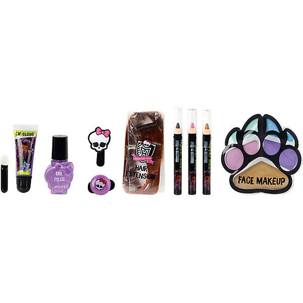 Monster High Игровой набор детской декоративной косметики ClawdeenНаборы детской косметики<br>Характеристики:<br><br>• декоративная косметика для губ, ногтей, волос и лица;<br>• косметика на водной основе;<br>• продукция не содержит парабенов, метилизотиазолинона и пальмового масла;<br>• косметика долго хранится, сохраняет свои первоначальные свойства;<br>• продукты гипоаллергенны, практически не вызывают аллергическую реакцию;<br>• рекомендация: перед применением косметики проверьте индивидуальную реакцию ребенка на продукцию Markwins;<br>• состав набора: цветная прядь искусственных волос 1 шт., блеск для губ в тубе 1 шт., лак для ногтей на водной основе 1 шт., косметические карандаши 3 шт., палитра кремовых теней для век из 5 оттенков, аппликатор 1 шт., резинка для волос 1 шт., заколочка для волос 1 шт.;<br>• размер упаковки: 21х4х24 см;<br>• вес: 221 г.<br><br>Салон красоты в домашних условиях – возможность преобразиться, создать новый образ, проявить женственность и чувство стиля. Набор декоративной косметики Markwins содержит в себе косметику для волос, губ и ногтей. <br><br>Monster High Игровой набор детской декоративной косметики Clawdeen можно купить в нашем интернет-магазине.<br>Ширина мм: 210; Глубина мм: 40; Высота мм: 240; Вес г: 221; Возраст от месяцев: 36; Возраст до месяцев: 2147483647; Пол: Женский; Возраст: Детский; SKU: 7329056;