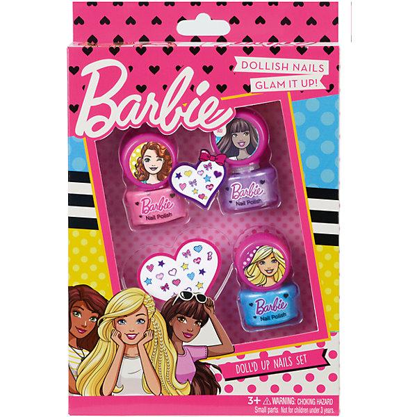 Barbie Игровой набор детской декоративной косметики для ногтейНаборы детской косметики<br>Характеристики:<br><br>• декоративная косметика для дизайна ногтей;<br>• косметика на водной основе;<br>• продукция не содержит парабенов, метилизотиазолинона и пальмового масла;<br>• косметика долго хранится, сохраняет свои первоначальные свойства;<br>• продукты гипоаллергенны, практически не вызывают аллергическую реакцию;<br>• рекомендация: перед применением косметики проверьте индивидуальную реакцию ребенка на продукцию Markwins;<br>• состав набора: лаки для ногтей на водной основе 3 шт., стикеры 2 листа;<br>• размер упаковки: 15х3х24 см;<br>• вес: 138 г.<br><br>Салон красоты в домашних условиях – возможность преобразиться, создать новый образ, проявить женственность и чувство стиля. Набор декоративной косметики Markwins содержит в себе косметику для ногтей. <br><br>Barbie Игровой набор детской декоративной косметики для ногтей можно купить в нашем интернет-магазине.<br><br>Ширина мм: 150<br>Глубина мм: 30<br>Высота мм: 240<br>Вес г: 138<br>Возраст от месяцев: 36<br>Возраст до месяцев: 2147483647<br>Пол: Женский<br>Возраст: Детский<br>SKU: 7329057