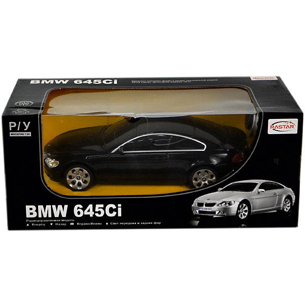 Радиоуправляемая машина Rastar BMW 645Ci 1:24, чернаяРадиоуправляемые машины<br>Характеристики:<br><br>• вес в упаковке: 460г.;<br>• материал:металл, пластик;<br>• тип батарейки: 5хАА (в комплект не входят)<br>• размер упаковки: 28,5х12х10см.;<br>• размер машины: 20,3х8,8х5,9см.;<br>• упаковка: картонная коробка;<br>• для детей в возрасте: от 6 лет.;<br>• страна производитель:Китай.<br><br>Радиоуправляемый БМВ 645Ci чёрного цвета бренда «RASTAR» (Рестар) будет прекрасным подарком для маленьких мальчишек. Это точная копия настоящей машины сделанная в масштабе 1 к 24. Она создана из высококачественных, экологически чистых материалов, что очень важно для детских товаров.<br><br>  Модель приводится в движение с помощью пульта управления, на котором находятся всего две кнопки, поэтому управлять машиной легко и просто. При движении вперёд или назад светятся фары. Игрушка рассчитана на двадцать пять минут непрерывной работы.<br><br>Ребёнок быстро научится управлять автомобилем применяя пульт управления, будет ловко объезжать различные препятствия. В компании с друзьями или родителями устраивать настоящие гонки. Играя дети развивают фантазию, быстроту реакции, координацию движений, глазомер.<br><br>Радиоуправляемый БМВ Сi чёрного цвета бренда «RASTAR» (Рестар), можно купить в нашем интернет-магазине.<br>Ширина мм: 385; Глубина мм: 120; Высота мм: 100; Вес г: 460; Возраст от месяцев: 36; Возраст до месяцев: 2147483647; Пол: Мужской; Возраст: Детский; SKU: 7330704;