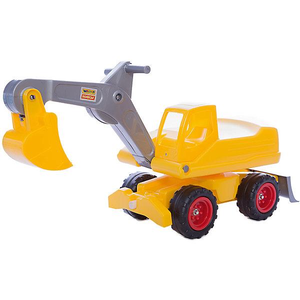 Машинка Полесье Мега-экскаватор колесный, желтыйКаталки для малышей<br>Характеристики товара:<br><br>• возраст: от 3 лет;<br>• материал: пластик, металл;<br>• Размер экскаватора в упаковке по стреле: 79x27x42.3 см.<br>• Размер экскаватора в упаковке по ковшу: 88x27x42 см.<br>• страна производитель: Беларусь.<br><br>Игрушка «Мега экскаватор» очень напоминает реальный экскаватор; стрела и ковш, а также вращающийся корпус совсем как у оригинала, способна впечатлить любого мальчика, особенно если он любит тяжелую технику.  <br><br>У экскаватора большие колеса, благодаря этому на такой машине можно кататься по любой поверхности дома и на улице. Кроме этого у машины есть комфортное сиденье и подвижный корпус, который поможет ребенку без труда повернуться, не вставая. У экскаватора также двигаются ковш и стрела - ими ребенок сможет управлять с помощью специальных ручек.<br><br> С таким экскаватором непременно захочется поиграть в песочнице, он также будет полезным и дома.<br><br>Мега-экскаватор колёсный, можно приобрести в нашем интернет-магазине.<br>Ширина мм: 795; Глубина мм: 280; Высота мм: 420; Вес г: 4224; Возраст от месяцев: 36; Возраст до месяцев: 2147483647; Пол: Мужской; Возраст: Детский; SKU: 7330779;