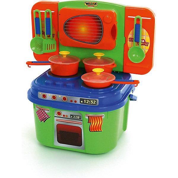Игровой набор Полесье Мини-кухня, в коробкеДетские кухни<br>Характеристики товара:<br><br>• возраст: от 3 лет;<br>• в комплекте:<br>- кастрюля – 1 шт.,<br>- ковшик - 1 шт.,<br>- сковорода – 1 шт.,<br>- кухонные приборы – 3 шт..<br>• цвет: красный, синий, зеленый<br>• материал: пластик.<br>• размер упаковки: 44х36х45,5 см;<br>• упаковка:картонная коробка;<br>• страна бренда: Беларусь.<br><br>Мини-кухня оснащена плиточкой с тремя конфорками, а также духовкой, расположенной над плитой. Всё это позволяет ребёнку почувствовать себя настоящим поваром в кафе. <br><br>Конструкция игрового комплекса предусматривает наличие ниши с полочкой для хранения игрушечных продуктов и посуды.<br><br>Детскую кухню, можно приобрести в нашем интернет-магазине.<br>Ширина мм: 360; Глубина мм: 230; Высота мм: 360; Вес г: 1736; Возраст от месяцев: 36; Возраст до месяцев: 2147483647; Пол: Женский; Возраст: Детский; SKU: 7330795;
