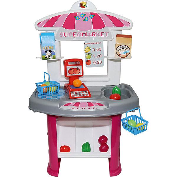 Игровой набор Полесье Мини-супермаркет, в пакетеДетский супермаркет<br>Характеристики товара:<br><br>• возраст: от 3 лет;<br>• в комплекте:<br>- апельсин – 2 шт.,<br>- лимон – 2 шт.,<br>- помидор – 2 шт.,<br>- луковица – 2 шт.,<br>- яблоко – 2 шт.,<br>- перец – 2 шт.,<br>- коробочки, имитирующие упаковку молока и сахара. <br>• материал: пластик.<br>• размер упаковки: 47х27х64,5 см;<br>• упаковка:картонная коробка;<br>• страна бренда: Беларусь.<br><br>Набор-мини Супермаркет интересная и увлекательная игра для вашего ребенка, представляет собой маленький прилавок и витрину, где продаются фрукты и овощи. Продукты можно взвесить на весах и уложить в корзинку для покупок.<br><br>Игра с набором Супермаркет научит ребенка самостоятельно совершать покупки, разыгрывая роли продавца и покупателя, считать стоимость покупки и распределять имеющийся для покупок бюджет.<br><br>Набор мини супермаркет, можно приобрести в нашем интернет-магазине.<br>Ширина мм: 415; Глубина мм: 365; Высота мм: 190; Вес г: 1211; Возраст от месяцев: 36; Возраст до месяцев: 2147483647; Пол: Унисекс; Возраст: Детский; SKU: 7330798;