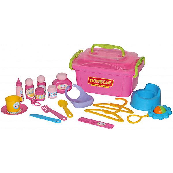 Игровой набор Полесье Няня № 2, в контейнереДругие наборы<br>Характеристики товара:<br><br>• возраст: от 3 лет;<br>• в комплекте: ночной горшок, соску, бутылочку для кормления, погремушку, флаконы для присыпки, баночки, вешалки, расческу, слюнявчик, блюдце, чашку, ложку, нож, вилку.<br>• материал: пластик.<br>• размер упаковки: 15?27?20 см;<br>• упаковка: контейнер;<br>• страна бренда: Беларусь.<br><br>Игровой набор Няня №2 в контейнере Полесье состоит из необходимых для ухода за крохой аксессуаров, с ним игры девочек в дочки-матери станут еще интереснее и красочней.<br><br>В комплект входят косметические средства для ухода, расческа, посуда, бутылочка, пустышка,слюнявчик, вешалки для одежды, горшок и погремушка. Для удобного хранения предусмотрен вместительный контейнер с ручкой, расположенной на крышке. <br><br>Набор няня 2, можно приобрести в нашем интернет-магазине.<br>Ширина мм: 285; Глубина мм: 195; Высота мм: 155; Вес г: 607; Возраст от месяцев: 36; Возраст до месяцев: 2147483647; Пол: Женский; Возраст: Детский; SKU: 7330801;