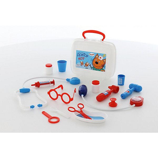 Игровой набор Полесье Три кота. Доктор, в чемоданчике (в ассортименте)Наборы доктора и ветеринара<br>Характеристики товара:<br><br>• возраст: от 3 лет;<br>• в комплекте:<br>- ножницы - 1 шт.,<br>- очки - 1 шт.,<br>- лупа - 1 шт.,<br>- шприц - 1 шт.,<br>- лоток для инструментов - 1 шт.,<br>- ложечка - 1 шт.,<br>- стетоскоп (для выслушивания сердца и лёгких) - 1 шт.,<br>- тонометр (для измерения давления) - 1 шт.,<br>- отоскоп (инструмент лор-врача) - 1 шт.,<br>- молоточек - 1 шт.,<br>- мерный стаканчик с крышкой - 1 шт.,<br>- стаканчик - 1 шт.,<br>- баночка -2 шт..<br>• материал: пластик.<br>• размер упаковки: 22х8,5х19см;<br>• упаковка: чемоданчик ;<br>• страна бренда: Беларусь.<br><br>Теперь озорные котята из мультфильма «Три кота» будут радовать детей во время игр с набором доктора от фабрики «Полесье».<br><br> Детские игрушки выделяются ярким дизайном, частью которого стали хвостатые персонажи из любимого мультсериала.<br><br>«Три кота» рассказывают о повседневной жизни маленьких, но очень любознательных котят: Коржика, Компота и их младшей сестренки Карамельки.<br><br>Набор «Три кота» «Доктор» , можно приобрести в нашем интернет-магазине.<br>Ширина мм: 220; Глубина мм: 85; Высота мм: 190; Вес г: 368; Возраст от месяцев: 36; Возраст до месяцев: 2147483647; Пол: Унисекс; Возраст: Детский; SKU: 7330804;