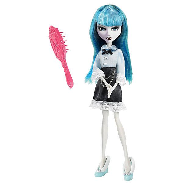Кукла Playhut Mystixx Vampires Азра, 28 смКуклы<br>Характеристики товара:<br><br>• возраст: от 6 лет;<br>• материал: пластик, текстиль;<br>• в комплекте: кукла, аксессуары;<br>• высота куклы: 29 см;<br>• размер упаковки: 33х30х8 см;<br>• вес упаковки: 833 гр.;<br>• страна производитель: Китай.<br><br>Кукла Мистикс вампир Азра выглядит как настоящий вампир. У нее светлая бледная кожа, голубые волосы, видны зубки вампира. Волосы можно расчесывать гребешком, который входит в комплект. Необычной особенностью куклы является ее возможность менять облик. Стоит только повернуть ее голову, как она тут же меняется в лице. Благодаря проволочному каркасу кукла принимает различные позы. Выполнена из качественных безопасных материалов.<br><br>Куклу Мистикс вампир Азра можно приобрести в нашем интернет-магазине.<br>Ширина мм: 300; Глубина мм: 80; Высота мм: 330; Вес г: 833; Возраст от месяцев: 72; Возраст до месяцев: 120; Пол: Женский; Возраст: Детский; SKU: 7331971;