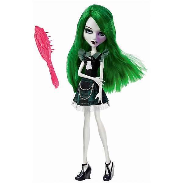 Кукла Playhut Mystixx Vampires Калани, 28 смКуклы<br>Характеристики товара:<br><br>• возраст: от 6 лет;<br>• материал: пластик, текстиль;<br>• в комплекте: кукла, аксессуары;<br>• высота куклы: 29 см;<br>• размер упаковки: 33х30х8 см;<br>• вес упаковки: 833 гр.;<br>• страна производитель: Китай.<br><br>Кукла Мистикс вампир Калани выглядит как настоящий вампир. У нее светлая бледная кожа, зеленые волосы, видны зубки вампира. Волосы можно расчесывать гребешком, который входит в комплект. Необычной особенностью куклы является ее возможность менять облик. Стоит только повернуть ее голову, как она тут же меняется в лице. Благодаря проволочному каркасу кукла принимает различные позы. Выполнена из качественных безопасных материалов.<br><br>Куклу Мистикс вампир Калани можно приобрести в нашем интернет-магазине.<br>Ширина мм: 300; Глубина мм: 80; Высота мм: 330; Вес г: 833; Возраст от месяцев: 72; Возраст до месяцев: 120; Пол: Женский; Возраст: Детский; SKU: 7331972;