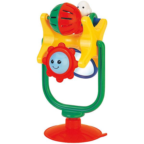 Игрушка на присоске Kiddieland Забавное вращениеИгрушки для новорожденных<br>Характеристики товара:<br><br>• возраст: от 1 года;<br>• материал: пластик;<br>• размер упаковки: 20х15х13 см;<br>• вес упаковки: 300 гр.;<br>• страна производитель: Китай.<br><br>Развивающая игрушка «Забавное вращение на присоске» Kiddieland — игрушка для малышей от 1 года. При помощи присоски она крепится на любую горизонтальную поверхность. На игрушке имеются разнообразные развивающие элементы: зеркальце, погремушка, солнышко, вращающийся круг. Игрушка способствует развитию мелкой моторики рук, тактильных ощущений, цветового восприятия. Выполнена из безопасного пластика.<br><br>Развивающую игрушку «Забавное вращение на присоске» Kiddieland можно приобрести в нашем интернет-магазине.<br><br>Ширина мм: 150<br>Глубина мм: 130<br>Высота мм: 200<br>Вес г: 300<br>Возраст от месяцев: 12<br>Возраст до месяцев: 36<br>Пол: Унисекс<br>Возраст: Детский<br>SKU: 7331982
