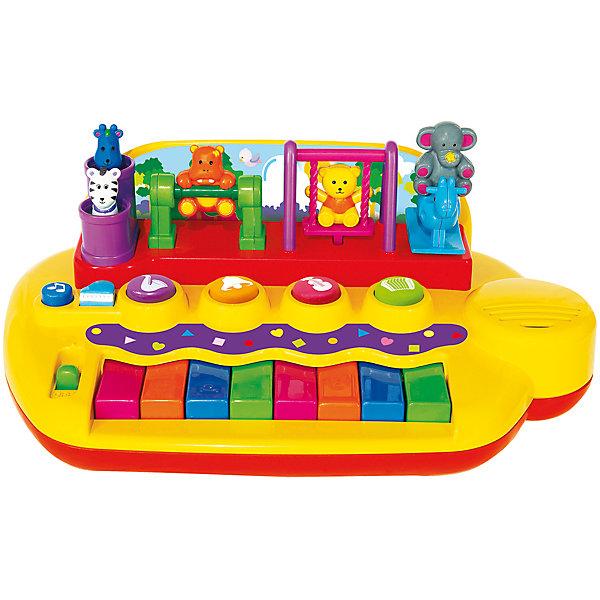 Игрушечное пианино Kiddieland с животными на качеляхПианино<br>Потрясающее пианино с забавными фигурками зверюшек, которые двигаются и качаются на качелях, пока детишки сочиняют веселые мелодии на пяти различных инструментах или нажимают на клавиши, чтобы прослушать записанную музыку. Отличный способ познакомиться с музыкой!<br><br>Ширина мм: 310<br>Глубина мм: 200<br>Высота мм: 140<br>Вес г: 600<br>Возраст от месяцев: 12<br>Возраст до месяцев: 36<br>Пол: Унисекс<br>Возраст: Детский<br>SKU: 7331985
