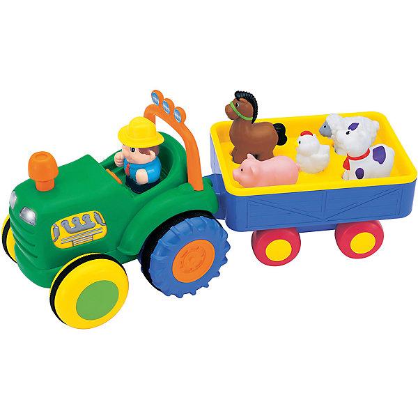 Интерактивная игрушка Kiddieland Трактор фермераМашинки<br>Характеристики товара:<br><br>• возраст: от 1 года;<br>• материал: пластик;<br>• тип батареек: 4 батарейки АА;<br>• наличие батареек: в комплекте;<br>• размер игрушки: 36х13,5х17,5 см;<br>• размер упаковки: 40х18х16 см;<br>• вес упаковки: 1,4 кг;<br>• страна производитель: Китай.<br><br>Игровой развивающий центр «Трактор фермера» Kiddieland — игрушка, выполненная  виде трактора с прицепом. За рулем трактора едет фермер, он везет на прицепе фигурки животных: лошадку, овечку, коровку, поросенка. Нажав на трубу, трактор поедет вперед. При движении будут слышны звуки мотора, тормозов, загораются фары. При нажатии на фигурки, они также издает забавные звуки, читают стишки и поют песенки. Фигурки легко снимаются и могут использоваться как обычные игрушки. Игрушка выполнена из безопасных материалов.<br><br>Игровой развивающий центр «Трактор фермера» Kiddieland можно приобрести в нашем интернет-магазине.<br>Ширина мм: 400; Глубина мм: 160; Высота мм: 180; Вес г: 1400; Возраст от месяцев: 12; Возраст до месяцев: 36; Пол: Унисекс; Возраст: Детский; SKU: 7331992;