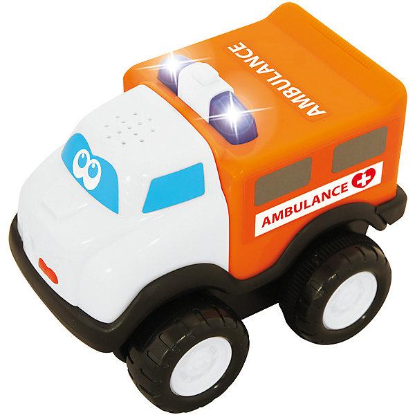 Развивающая машинка Kiddieland Скорая помощьМашинки<br>Характеристики товара:<br><br>• возраст: от 1 года;<br>• материал: пластик;<br>• тип батареек: 3 батарейки LR44;<br>• наличие батареек: в комплекте;<br>• размер игрушки: 12х10х9 см;<br>• размер упаковки: 16х15х11 см;<br>• вес упаковки: 400 гр.;<br>• страна производитель: Китай.<br><br>Развивающая игрушка «Скорая помощь» Kiddieland — увлекательная игрушка-машинка, оснащенная инерционным механизмом. Стоит только откатить ее немного назад и отпустить, как она помчится вперед. Во время движения будет играть музыка, слышны звуки мотора, сигналы. Игрушка выполнена из качественных безопасных материалов.<br><br>Развивающую игрушку «Скорая помощь» Kiddieland можно приобрести в нашем интернет-магазине.<br>Ширина мм: 150; Глубина мм: 110; Высота мм: 160; Вес г: 400; Возраст от месяцев: 12; Возраст до месяцев: 36; Пол: Унисекс; Возраст: Детский; SKU: 7331994;