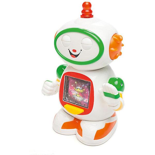 Интерактивная игрушка Kiddieland Приятель роботРоботы<br>Характеристики товара:<br><br>• возраст: от 1 года;<br>• материал: пластик;<br>• тип батареек: 2 батарейки АА;<br>• наличие батареек: в комплекте;<br>• размер упаковки: 25х18х11 см;<br>• вес упаковки: 630 гр.;<br>• страна производитель: Китай.<br><br>Развивающая игрушка «Приятель робот» Kiddieland — робот, который умеет крутить головой и двигать ручками. Нажав на кнопочку на голове, робот подвигает глазками под веселые звуки. На туловище робота расположен экран. Нажав специальную кнопку, ребенок понаблюдает за разными картинкам и послушает забавные музыкальные композиции. Игрушка выполнена из безопасных материалов.<br><br>Развивающую игрушку «Приятель робот» Kiddieland можно приобрести в нашем интернет-магазине.<br>Ширина мм: 180; Глубина мм: 110; Высота мм: 250; Вес г: 630; Возраст от месяцев: 12; Возраст до месяцев: 36; Пол: Унисекс; Возраст: Детский; SKU: 7331999;