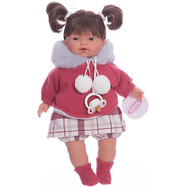 Кукла-пупс Llorens Татьяна в кофте с бумбонами, 33 смБренды кукол<br>Характеристики товара:<br><br>• возраст: от 3 лет;<br>• материал: ПВХ, текстиль;<br>• высота куклы: 33 см;<br>• размер упаковки: 36х20х11 см;<br>• вес упаковки: 660 гр.;<br>• страна производитель: Испания.<br><br>Кукла «Татьяна в кофте с бумбонами» Llorens — очаровательная девочка с темными волосами, одетая в платье и теплую вязаную кофточку с бумбонами. У куклы мягконабивное тело, выполненное из ПВХ с наполнителем из синтетического волокна. Игра с куклой прививает малышке чувство заботы, ответственности. <br><br>Куклу «Татьяна в кофте с бумбонами» Llorens можно приобрести в нашем интернет-магазине.<br>Ширина мм: 200; Глубина мм: 110; Высота мм: 360; Вес г: 660; Возраст от месяцев: 36; Возраст до месяцев: 84; Пол: Женский; Возраст: Детский; SKU: 7332010;