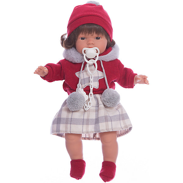 Кукла-пупс Llorens Лола в кофте и юбке, 38 смБренды кукол<br>Кукла изготовлена из ПВХ с мягконабивным туловищем с наполнителем из синтетического волокна. Одета в красную кофту, светлую юбку, шарфик, шапочка, носочки. Глазки у куклы не закрываются. Светлые волосы прошиты по всей голове. Упакована в подарочную упаковку.<br><br>Ширина мм: 230<br>Глубина мм: 120<br>Высота мм: 470<br>Вес г: 960<br>Возраст от месяцев: 36<br>Возраст до месяцев: 84<br>Пол: Женский<br>Возраст: Детский<br>SKU: 7332016