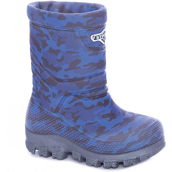 Сапоги Sturman для мальчикаСапоги<br>Характеристики товара:<br><br>• цвет: синий;<br>• внешний материал: 100% ПВХ;<br>• внутренний материал: натуральная шерсть;<br>• стелька: натуральная шерсть;<br>• подошва: ТЭП;<br>• сезон: зима;<br>• температурный режим: от +5 до -30С;<br>• без застежки;<br>• всегда тепло и сухо;<br>• легкие, комфортные и удобные;<br>• допускается стирка в машинке при +30С;<br>• устойчивые на льду, нескользкие;<br>• сохраняют тепло в сильные морозы;<br>• стелька и подкладка из овчины;<br>• светоотражающий лейбл;<br>• страна бренда: Россия;<br>• страна изготовитель: Румыния.<br><br>Термобутсы Sturman. Torta tecnologia: слоеный пирог. Верхнее покрытие Sturman– микрофибра или неопрен – невесомое, яркое или блестящее, натягивается на литой rubber-сапог с добавлением натурального каучука CBS. Внутри – чулок из овчины, который соприкасается непосредственно с детской ножкой.<br><br>Ottimale temperature tecnologia: климат-контроль. Лучший термоизолятор в зимней обуви – воздух, находящийся между CBS-сапогом и подкладкой из овчины. Благодаря натуральному материалу нога не потеет, и оптимальная температура внутри сохраняется как в сильный мороз, так и в оттепель.<br><br>Senza saldatura tecnologia: cамый тонкий момент –в соединении всех частей сапога. Бесшовная технология Senza saldatura обеспечивает высокую прочность, водонепроницаемость и долговечность. <br><br>Super frizione tecnoloia: улучшенное сцепление с поверхностью. Когда при низких температурах обычный полиуретан дубеет и скользит, STURMAN устойчив и надежен. Секрет не только в химической формуле материала подметки с добавлением натурального каучука, но в рисунке подошвы. Специально для STURMAN известный итальянский дизайнер Gianni Guarisa из города Montebelluna создал уникальный протектор, сбалансировав качество сцепления и износостойкость.<br><br>Сапоги Штурман зимние можно купить в нашем интернет-магазине.<br><br>Ширина мм: 257<br>Глубина мм: 180<br>Высота мм: 130<br>Вес г: 420<br>Цвет: синий<br