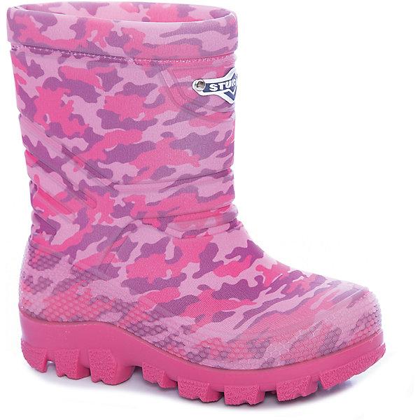 Сапоги Sturman для девочкиСапоги<br>Характеристики товара:<br><br>• цвет: розовый;<br>• внешний материал: 100% ПВХ;<br>• внутренний материал: натуральная шерсть;<br>• стелька: натуральная шерсть;<br>• подошва: ТЭП;<br>• сезон: зима;<br>• температурный режим: от +5 до -30С;<br>• без застежки;<br>• всегда тепло и сухо;<br>• легкие, комфортные и удобные;<br>• допускается стирка в машинке при +30С;<br>• устойчивые на льду, нескользкие;<br>• сохраняют тепло в сильные морозы;<br>• стелька и подкладка из овчины;<br>• светоотражающий лейбл;<br>• страна бренда: Россия;<br>• страна изготовитель: Румыния.<br><br>Термобутсы Sturman. Torta tecnologia: слоеный пирог. Верхнее покрытие Sturman– микрофибра или неопрен – невесомое, яркое или блестящее, натягивается на литой rubber-сапог с добавлением натурального каучука CBS. Внутри – чулок из овчины, который соприкасается непосредственно с детской ножкой.<br><br>Ottimale temperature tecnologia: климат-контроль. Лучший термоизолятор в зимней обуви – воздух, находящийся между CBS-сапогом и подкладкой из овчины. Благодаря натуральному материалу нога не потеет, и оптимальная температура внутри сохраняется как в сильный мороз, так и в оттепель.<br><br>Senza saldatura tecnologia: cамый тонкий момент –в соединении всех частей сапога. Бесшовная технология Senza saldatura обеспечивает высокую прочность, водонепроницаемость и долговечность. <br><br>Super frizione tecnoloia: улучшенное сцепление с поверхностью. Когда при низких температурах обычный полиуретан дубеет и скользит, STURMAN устойчив и надежен. Секрет не только в химической формуле материала подметки с добавлением натурального каучука, но в рисунке подошвы. Специально для STURMAN известный итальянский дизайнер Gianni Guarisa из города Montebelluna создал уникальный протектор, сбалансировав качество сцепления и износостойкость.<br><br>Сапоги Штурман зимние можно купить в нашем интернет-магазине.<br>Ширина мм: 257; Глубина мм: 180; Высота мм: 130; Вес г: 420; Цвет: розовый; Возраст от