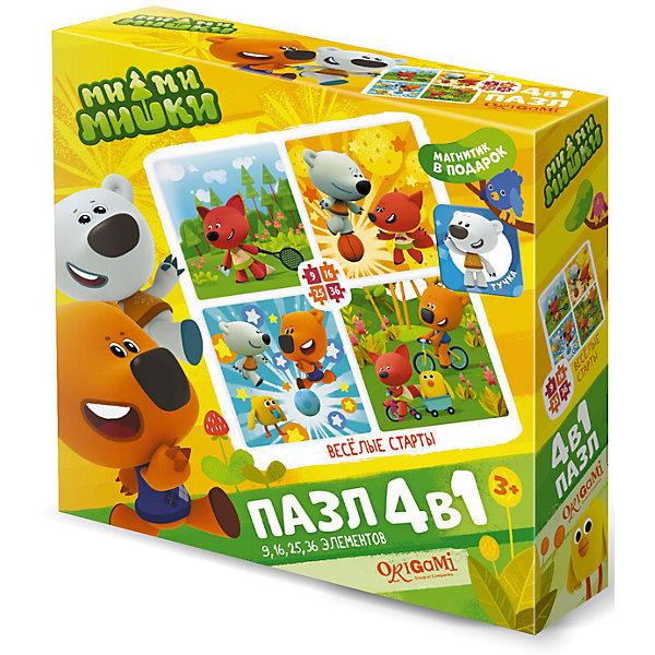 Пазл 4 в 1 Origami Ми-ми-мишки Веселые старты, 9/16/24/36 элементовПазлы для малышей<br>Характеристики товара:<br><br>• возраст: от 3 лет;<br>• пол: для девочек;<br>• комплект: 4 пазла, магнит;<br>• количество элементов: 86 шт.;<br>• материал пазла: картон;<br>• размер упаковки: 18х18х5 см.;<br>• вес: 165 гр.;<br>• упаковка: картонная коробка;<br>• страна обладатель бренда: Россия.<br><br>Пазл предлагает собрать 4 различные красочные картинки с изображением веселых мишек и друзей.<br><br>Из количества деталей ребенок сможет собрать 4 разных картинки, объединенных одной общей тематикой. На них веселые Ми-ми-мишки устроили веселые старты: они бегают, прыгают, катаются на велосипедах и играют в бадминтон и футбол.<br><br>Пазл «Веселые старты» можно купить в нашем интернет-магазине.<br><br>Ширина мм: 180<br>Глубина мм: 180<br>Высота мм: 50<br>Вес г: 165<br>Возраст от месяцев: 36<br>Возраст до месяцев: 2147483647<br>Пол: Унисекс<br>Возраст: Детский<br>SKU: 7335544