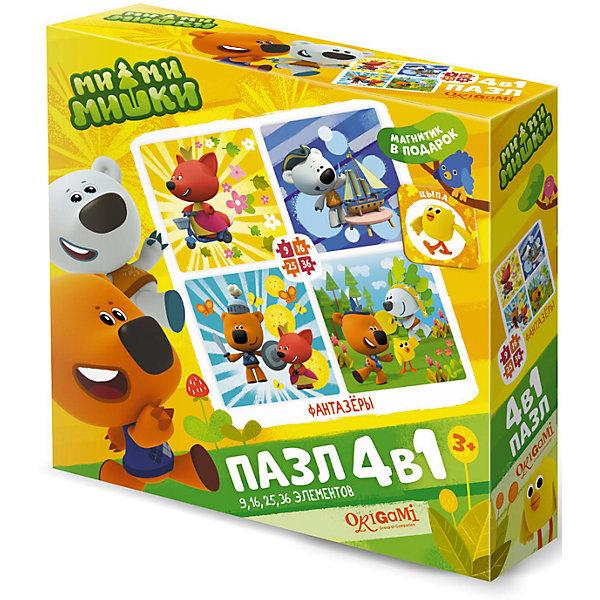 Пазл 4 в 1 Origami Ми-ми-мишки Фантазеры, 9/16/24/36 элементовПазлы для малышей<br>Характеристики товара:<br><br>• возраст: от 3 лет;<br>• пол: для девочек;<br>• комплект: 4 пазла, магнит;<br>• количество элементов: 9,16,24,36 шт.;<br>• материал пазла: картон;<br>• размер упаковки: 18х18х5 см.;<br>• вес: 165 гр.;<br>• упаковка: картонная коробка;<br>• страна обладатель бренда: Россия.<br><br>Набор состоит из четырех пазлов с любимыми героями, на которых Кеша, Тучка и их друзья попадают в захватывающие приключения.<br><br>Каждый пазл отличается разной степенью сложности. <br><br>В набор входит приятный бонус в виде магнита с изображением забавного мишки. <br><br>Элементы пазла изготовлены из плотного картона, поэтому данные головоломки будут долгое время радовать ребенка.<br><br>Пазл «Фантазеры» можно купить в нашем интернет-магазине.<br>Ширина мм: 180; Глубина мм: 180; Высота мм: 50; Вес г: 165; Возраст от месяцев: 36; Возраст до месяцев: 2147483647; Пол: Унисекс; Возраст: Детский; SKU: 7335547;