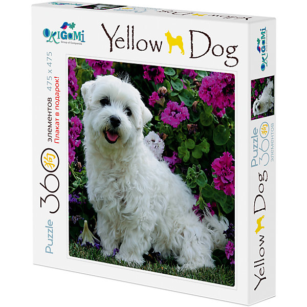 Пазл Origami Yellow dog 360 элементов + плакат Собачка и цветыПазлы классические<br>Характеристики товара:<br><br>• возраст: от 6 лет;<br>• пол: для девочек;<br>• комплект: пазл, плакат;<br>• количество элементов: 360 шт.;<br>• материал пазла: бумага, картон;<br>• размер упаковки: 24,3х24,3х4,5 см.;<br>• размер собранного изображения: 47,5х47,5 см.;<br>• вес: 230 гр.;<br>• упаковка: картонная коробка;<br>• страна обладатель бренда: Россия.<br><br>Элементы пазла собираются в очень красивую картинку с изображением милой собачки в окружении прекрасных цветов. <br><br>Детали пазла изготовлены из плотного и качественного картона и хорошо стыкуются друг с другом. <br><br>Внимание - очень мелкие детали.<br><br>Сборка пазла развивает у ребенка внимательность и логику.<br><br>Пазл Yellow Dog «Собачка и цветы» можно купить в нашем интернет-магазине.<br>Ширина мм: 243; Глубина мм: 243; Высота мм: 45; Вес г: 230; Возраст от месяцев: 72; Возраст до месяцев: 2147483647; Пол: Унисекс; Возраст: Детский; SKU: 7335548;