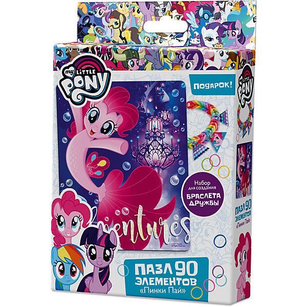 Пазл Origami My little pony 90 элементов + браслетик Пинки ПайПазлы для малышей<br>Характеристики товара:<br><br>• возраст: от 3 лет;<br>• пол: для девочек и мальчиков;<br>• герой: мои маленькие пони;<br>• комплект: элементы пазла, 11 подвесок, магнит;<br>• количество элементов: 90 шт.;<br>• материал пазла: картон, бумага, полимерные материалы;<br>• размер упаковки: 18,2х3,2х11,6 см.;<br>• вес: 80 гр.;<br>• упаковка: картонная коробка;<br>• страна обладатель бренда: Россия.<br><br>Пазл настоящий подарок для поклонников полнометражного мультфильма «Мой маленький пони». <br><br>Пазл состоит из 90 деталей с пазловым замком и выполнен в морской тематике.<br><br>В комплект также входят 11 карточек-подвесок, магнит, набор для творчества «Happy Loom. Цветные резиночки».<br><br>Пазл можно купить в нашем интернет-магазине.<br>Ширина мм: 182; Глубина мм: 32; Высота мм: 116; Вес г: 80; Возраст от месяцев: 36; Возраст до месяцев: 2147483647; Пол: Унисекс; Возраст: Детский; SKU: 7335556;