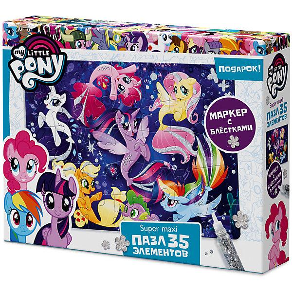 Макси-пазл Origami My little pony Поплаваем? 35 элементов + глиттерный маркерПазлы для малышей<br>Характеристики товара:<br><br>• возраст: от 3 лет;<br>• пол: для девочек;<br>• герой: мои маленькие пони;<br>• количество деталей: 35 шт.;<br>• комплект: элементы пазла, глиттерный маркер;<br>• из чего сделана игрушка (состав): бумага, картон, пластик;<br>• размер упаковки: 23х5х18 см.;<br>• вес: 165 гр.;<br>• упаковка: картонная коробка;<br>• страна обладатель бренда: Россия.<br><br>Пазл «Май Литл Пони» супер-макси состоит из 35 элементов. <br><br>Большие детали удобно ложаться в маленькую ладошку, а сам пазл легко и красиво собирается на полу.<br><br>В комплект входит глиттерный маркер, благодаря которому можно  которым можно раскрасить пони, что придаст рисунку яркость и объем и украсить свои любимые блокноты и тетради.<br><br>Пазл можно купить в нашем интернет-магазине.<br>Ширина мм: 230; Глубина мм: 50; Высота мм: 180; Вес г: 165; Возраст от месяцев: 36; Возраст до месяцев: 2147483647; Пол: Унисекс; Возраст: Детский; SKU: 7335569;
