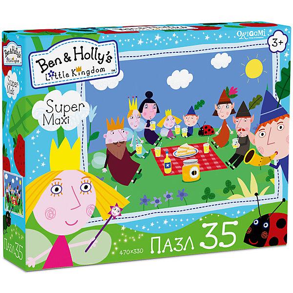 Пазл Maxi Origami Бен и Холли Пикник, 35 элементовПазлы для малышей<br>Характеристики товара:<br><br>• возраст: от 3 лет;<br>• пол: для девочек и мальчиков;<br>• количество деталей: 35 шт.;<br>• из чего сделана игрушка (состав): картон, бумага;<br>• размер упаковки: 23х5х18 см.;<br>• вес: 165 гр.;<br>• размер пазла: 47х33 см.;<br>• упаковка: картонная коробка;<br>• страна обладатель бренда: Россия.<br><br>Макси-пазл «Пикник» сможет разнообразить игровой досуг ребенка и порадует юных поклонников знаменитого мультфильма.<br><br>Из головоломки дети смогут собрать яркую картинку с изображением главных персонажей, весело трапезничающих на зеленой полянке. <br><br>Сборка пазла благотворно повлияет на развитие усидчивости, логического мышления и концентрации внимания.<br><br>Пазл «Пикник» можно купить в нашем интернет-магазине.<br>Ширина мм: 230; Глубина мм: 50; Высота мм: 180; Вес г: 165; Возраст от месяцев: 36; Возраст до месяцев: 2147483647; Пол: Унисекс; Возраст: Детский; SKU: 7335577;