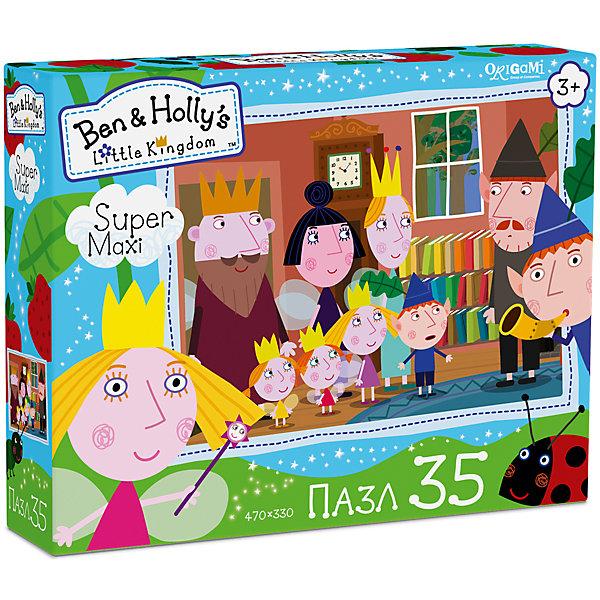 Пазл Maxi Origami Бен и Холли Приглашение, 35 элементовПазлы для малышей<br>Принцесса Холли и маленький эльф Бен зовут присоединиться к их необычайным приключениям! Просто ли освоить искусство волшебства? А собрать наш пазл на 35 элементов? Давайте проверим! Большие детали подойдут даже для крошечных ручек, а сам пазл красиво сложится на полу.<br><br>Ширина мм: 230<br>Глубина мм: 50<br>Высота мм: 180<br>Вес г: 165<br>Возраст от месяцев: 36<br>Возраст до месяцев: 2147483647<br>Пол: Унисекс<br>Возраст: Детский<br>SKU: 7335578