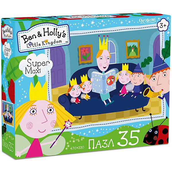Пазл Maxi Origami Бен и Холли Читаем сказки, 35 элементовПазлы для малышей<br>Характеристики товара:<br><br>• возраст: от 3 лет;<br>• пол: для девочек и мальчиков;<br>• количество деталей: 35 шт.;<br>• из чего сделана игрушка (состав): картон, бумага;<br>• размер упаковки: 23х5х18 см.;<br>• вес: 165 гр.;<br>• размер пазла: 47х33 см.;<br>• упаковка: картонная коробка;<br>• страна обладатель бренда: Россия.<br> <br>Макси-пазл «Читаем сказки» прекрасно подойдет для первого знакомства с удивительным миром данного рода головоломок. <br><br>На изображении представлены веселые персонажи мультипликационного сериала «Маленькое королевство Бена и Холли». <br><br>Большие картонные детали удобно брать и соединять между собой, создавая цельную картинку. <br><br>Пазл «Читаем сказки» можно купить в нашем интернет-магазине.<br>Ширина мм: 230; Глубина мм: 50; Высота мм: 180; Вес г: 165; Возраст от месяцев: 36; Возраст до месяцев: 2147483647; Пол: Унисекс; Возраст: Детский; SKU: 7335579;