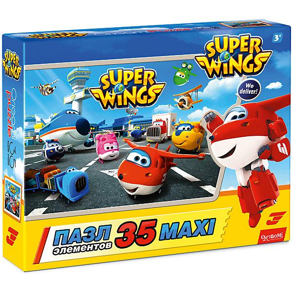 Пазл Maxi Origami Супер Крылья Все вместе, 35 элементовПазлы для малышей<br>Характеристики товара:<br><br>• возраст: от 3 лет;<br>• пол: для девочек и мальчиков;<br>• количество деталей: 36 шт.;<br>• из чего сделана игрушка (состав): картон, бумага;<br>• размер упаковки: 23х5х18 см.;<br>• вес: 165 гр.;<br>• упаковка: картонная коробка;<br>• страна обладатель бренда: Россия.<br> <br>Красный самолетик Джетт и его крутая команда зовут присоединиться к их необычайным приключениям.<br><br>Пазл выполнен из крупных деталей, которые подойдут даже для крошечных ручек, а сам пазл красиво сложится на полу.<br><br>Пазл «Все вместе» можно купить в нашем интернет-магазине.<br>Ширина мм: 230; Глубина мм: 50; Высота мм: 180; Вес г: 165; Возраст от месяцев: 36; Возраст до месяцев: 2147483647; Пол: Унисекс; Возраст: Детский; SKU: 7335580;
