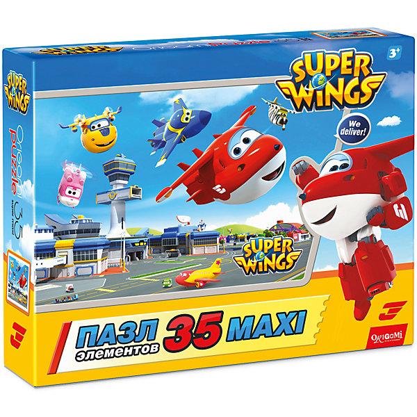 Пазл Maxi Origami Супер Крылья Вылет, 35 элементовПазлы для малышей<br>Характеристики товара:<br><br>• возраст: от 3 лет;<br>• пол: для девочек и мальчиков;<br>• количество деталей: 36 шт.;<br>• из чего сделана игрушка (состав): картон, бумага;<br>• размер упаковки: 23х5х18 см.;<br>• вес: 165 гр.;<br>• упаковка: картонная коробка;<br>• страна обладатель бренда: Россия.<br><br>Красочный макси-пазл «Вылет» порадует поклонников увлекательного анимационного сериала «Супер Крылья». <br><br>Головоломка включает в себя 35 крупных картонных элементов, которые даже неопытному ребенку будет удобно брать и складывать в цельное изображение.<br><br>Детей ждут веселые персонажи: Донни, Джетт, Дизи и Джером, парящие в воздухе.<br><br>Пазл «Вылет» можно купить в нашем интернет-магазине.<br>Ширина мм: 230; Глубина мм: 50; Высота мм: 180; Вес г: 165; Возраст от месяцев: 36; Возраст до месяцев: 2147483647; Пол: Унисекс; Возраст: Детский; SKU: 7335581;