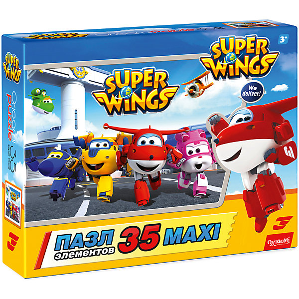 Пазл Maxi Origami Супер Крылья Дружная команда, 35 элементовПазлы для малышей<br>Характеристики товара:<br><br>• возраст: от 3 лет;<br>• пол: для девочек и мальчиков;<br>• количество деталей: 36 шт.;<br>• из чего сделана игрушка (состав): картон, бумага;<br>• размер упаковки: 23х5х18 см.;<br>• вес: 165 гр.;<br>• упаковка: картонная коробка;<br>• страна обладатель бренда: Россия.<br><br>Красочный макси-пазл «Дружная команда» порадует поклонников увлекательного анимационного сериала «Супер Крылья». <br><br>В данном макси-пазле 35 крупных картонных элементов, легко соединяющихся друг с другом, благодаря чему со сборкой ребенок справится самостоятельно. <br><br>Пазл «Дружная команда» можно купить в нашем интернет-магазине.<br>Ширина мм: 230; Глубина мм: 50; Высота мм: 180; Вес г: 165; Возраст от месяцев: 36; Возраст до месяцев: 2147483647; Пол: Унисекс; Возраст: Детский; SKU: 7335582;