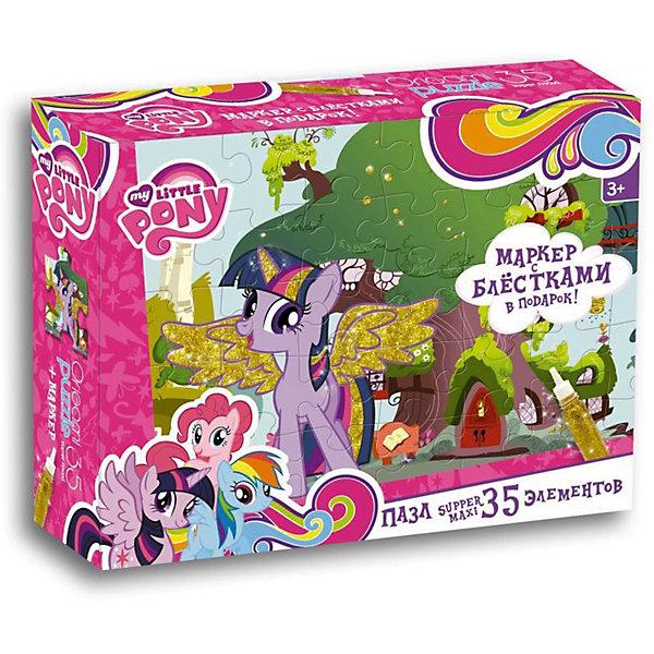 Пазл Maxi Origami My little Pony Домик Искорки 35 элементов + маркер с блесткамиПазлы для малышей<br>Характеристики товара:<br><br>• возраст: от 3 лет;<br>• пол: для девочек;<br>• количество деталей: 35 шт.;<br>• из чего сделана игрушка (состав): картон, бумага, пластик, краситель;<br>• комплект: элементы пазла, маркер с блестками;<br>• размер упаковки: 23х5х18 см.;<br>• вес: 250 гр.;<br>• упаковка: картонная коробка;<br>• страна обладатель бренда: Россия.<br><br>Макси-пазлл «Мои маленькие пони. Домик Искорки» представляет собой красочную репродукцию с изображением героев мультсериала «Дружба — это чудо». <br><br>Фрагменты пазла сделаны из плотного картона ,не расслаиваются и не заминаются в процессе сборки.<br><br>В комплект входит маркер с блестками, с помощью которого можно раскрасить пони.<br><br>Пазл «Домик Искорки» можно купить в нашем интернет-магазине.<br>Ширина мм: 230; Глубина мм: 50; Высота мм: 180; Вес г: 250; Возраст от месяцев: 36; Возраст до месяцев: 2147483647; Пол: Унисекс; Возраст: Детский; SKU: 7335586;
