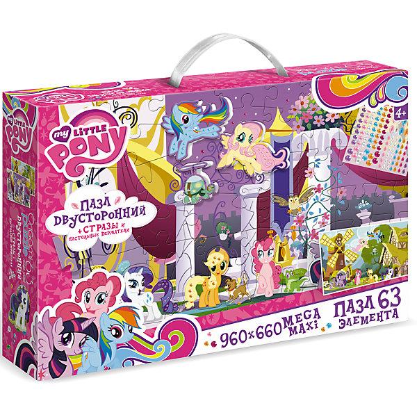 Пазл Maxi Origami My little Pony Королевство 63 элемента + стразы и настольные держателиMy little Pony<br>Яркий и необычный двусторонний напольный пазл размером 960х660 мм<br>В набор входят 12 игровых фигурок, стразы и настольные держатели для фигурок<br><br>Ширина мм: 320<br>Глубина мм: 230<br>Высота мм: 60<br>Вес г: 250<br>Возраст от месяцев: 36<br>Возраст до месяцев: 2147483647<br>Пол: Унисекс<br>Возраст: Детский<br>SKU: 7335587