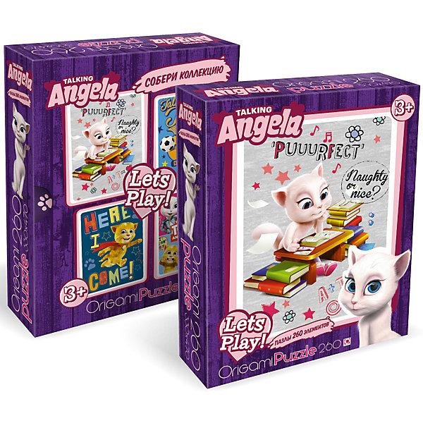 Пазл Origami Talking Friends Анджела умная или красивая?, 260 элементовПазлы классические<br>Характеристики товара:<br><br>• возраст: от 3 лет;<br>• пол: для девочек и мальчиков;<br>• количество деталей: 260 шт.;<br>• из чего сделана игрушка (состав): картон;<br>• размер собранного пазла: 33х47 см.;<br>• размер упаковки: 18х5х23 см.;<br>• вес: 226 гр.;<br>• упаковка: картонная коробка;<br>• страна обладатель бренда: Россия.<br><br>Пазл «Анджела. Умная или красивая?» представлен компанией Origami  и состоит из 260 элементов. <br><br>На собранной картинке изображена Анжела в окружении книг. Милая кошечка является подругой знаменитого говорящего Тома. <br><br>После окончания сборки можно приклеить пазл к картонной основе (не входит в комплект) и украсить стены своей комнаты.<br><br>Пазл «Анджела. Умная или красивая» можно купить в нашем интернет-магазине.<br>Ширина мм: 180; Глубина мм: 50; Высота мм: 230; Вес г: 226; Возраст от месяцев: 36; Возраст до месяцев: 2147483647; Пол: Унисекс; Возраст: Детский; SKU: 7335588;