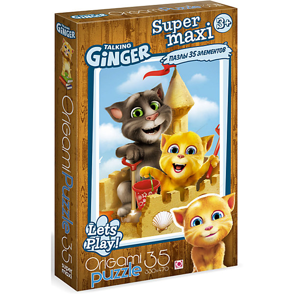 Пазл Maxi Origami Talking Friends Замок из песка, 35 элементовПазлы для малышей<br>Большой пазл с  с весёлой компанией харизматичных друзей котов и их друзьями: жирафом, попугаем, птичкой Ларри, щенком Беном, специально создан для малышей. Большие детали удобно ложатся в маленькую ручку, весь пазл красиво и легко складывается на полу.Каждый пазл в этой серии со своей историей - попробуй, собери всю коллекцию! Удобная коробка с пластиковой ручкой обязательно пригодится для хранения игр.<br><br>Ширина мм: 373<br>Глубина мм: 54<br>Высота мм: 230<br>Вес г: 322<br>Возраст от месяцев: 36<br>Возраст до месяцев: 2147483647<br>Пол: Унисекс<br>Возраст: Детский<br>SKU: 7335590