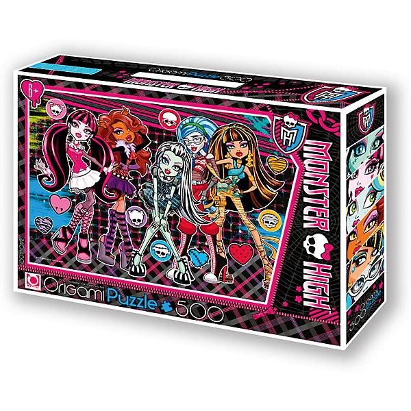 Пазл Origami Monster High 500 элементов + маркер с блесткамиMonster High<br>Большой пазл Monster High  на 500 деталей. Крупные детали хорошо ложатся в маленькую ладошку, а красочная картинка очень понравится малышу. Собирая пазл, ребёнок в ненавязчивой игровой форме развивает моторику рук и образное мышление. А кроме развивающего досуга, пазл подарит хорошее настроение. В подарок - маркер с блестками, которым можно украсить персонажей, придав им дополнительный объем.<br><br>Ширина мм: 320<br>Глубина мм: 60<br>Высота мм: 220<br>Вес г: 292<br>Возраст от месяцев: 72<br>Возраст до месяцев: 2147483647<br>Пол: Унисекс<br>Возраст: Детский<br>SKU: 7335597