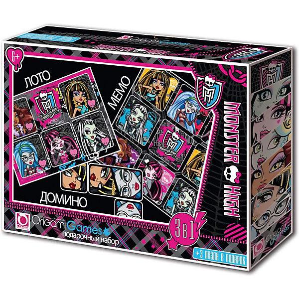 Подарочный набор 4 в 1 Origami Monster High Лото, мемо, домино и пазлыЛото<br>Характеристики товара:<br><br>• возраст: от 6 лет;<br>• пол: для девочек;<br>• герой: Монстр Хай;<br>• комплектация: игровой набор, игровое поле, домино;<br>• количество игроков: до 6 человек;<br>• размер упаковки: 32х6х22 см.;<br>• вес: 290 гр.;<br>• упаковка: картонная коробка с ручкой;<br>• страна обладатель бренда: Россия.<br><br>Подарочный набор Monster High включает в себя такие игры как: Лото, Мемо, Домино. <br><br>В комплекте веселые картинки о жизни подружек Monster High.<br><br>Набор станет замечательным подарком для ребенка непоседы. Игры помогают тренировать усидчивость в игрофой форме.<br><br>Подарочный набор можно купить в нашем интернет-магазине.<br>Ширина мм: 320; Глубина мм: 60; Высота мм: 220; Вес г: 290; Возраст от месяцев: 72; Возраст до месяцев: 2147483647; Пол: Унисекс; Возраст: Детский; SKU: 7335599;